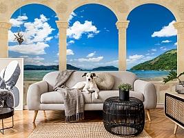 3D Фотообои «Терраса с арками на берегу моря» вид 5