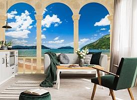3D Фотообои «Терраса с арками на берегу моря» вид 4