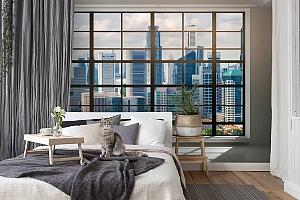 3D Фотообои «Окна с панорамным видом на город» вид 7