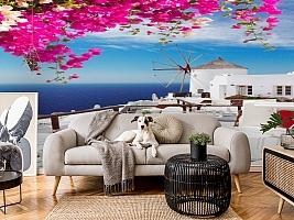 3D Фотообои «Яркие цветы на балконе. Санторини» вид 5