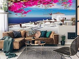 3D Фотообои «Яркие цветы на балконе. Санторини» вид 2