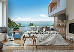 3D Фотообои «Терраса с бассейном в современном доме» вид 6