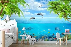 3D Фотообои «Дельфины над водой» вид 4