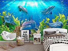 3D Фотообои «Дельфины» вид 5