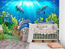 3D Фотообои «Дельфины» вид 3