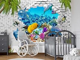 3D Фотообои «Океан за стеной» вид 7