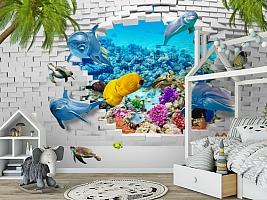 3D Фотообои «Океан за стеной» вид 6