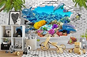 3D Фотообои «Океан за стеной» вид 2