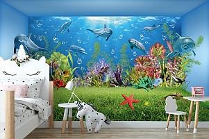 3D Фотообои «Газон под водой» вид 4