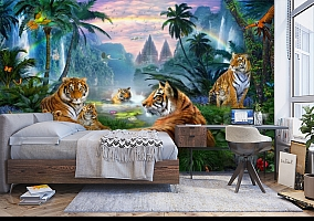 3D Фотообои «Тигры у водопадов» вид 5