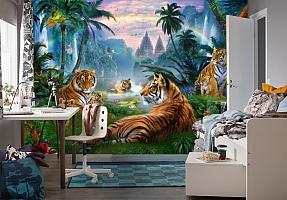 3D Фотообои «Тигры у водопадов» вид 4