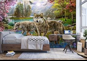 3D Фотообои «Волки в весеннем лесу» вид 5