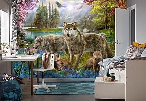 3D Фотообои «Волки в весеннем лесу» вид 4
