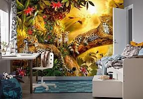 3D Фотообои «Семья леопардов» вид 4