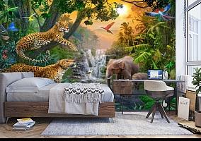 3D Фотообои «Тропический лес и его жители» вид 5