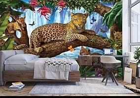 3D Фотообои «Леопарды на дереве» вид 5