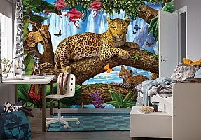 3D Фотообои «Леопарды на дереве» вид 4