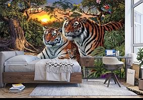 3D Фотообои «Тигриная семья. Закат» вид 5