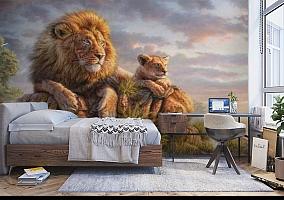 3D Фотообои «Величественные львы» вид 5