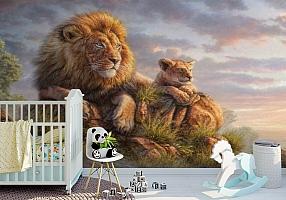 3D Фотообои «Величественные львы»