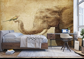3D Фотообои «Слон и птичка» вид 5