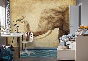 3D Фотообои «Слон и птичка» вид 4