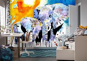3D Фотообои «Слоны. Акварель» вид 4