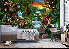 3D Фотообои «Тропический цветочный лес» вид 5