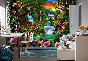 3D Фотообои «Тропический цветочный лес» вид 4