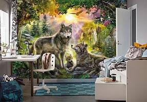 3D Фотообои «Волки в лесу» вид 4