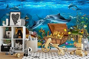 3D Фотообои «Дельфины кладоискатели» вид 2