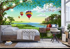 3D Фотообои «Воздушные шары в долине» вид 5