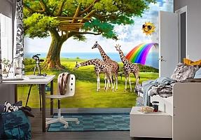 3D Фотообои «Жирафы на лужайке» вид 4