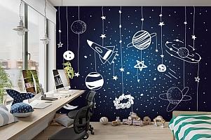 3D Фотообои «Детский космический фон» вид 3