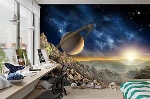 3D Фотообои «Огромный астероид с видом на сатурн» вид 3