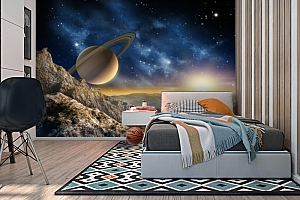 3D Фотообои «Огромный астероид с видом на сатурн» вид 2