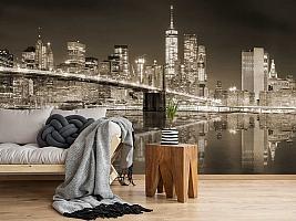 3D Фотообои «Бруклинский мост сепия» вид 5
