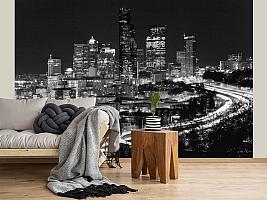 3D фотообои 3D Фотообои «Ночной город черно-белые» вид 2