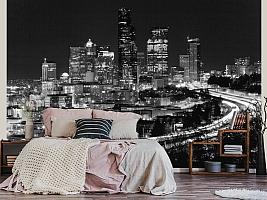 3D фотообои 3D Фотообои «Ночной город черно-белые» вид 3