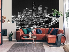3D фотообои 3D Фотообои «Ночной город черно-белые» вид 5