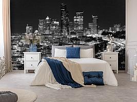 3D Фотообои «Ночной город черно-белые» вид 8
