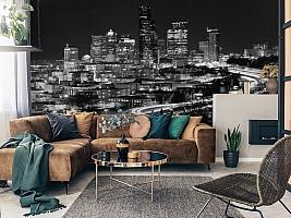 3D Фотообои «Ночной город черно-белые» вид 7