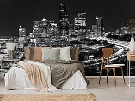 3D Фотообои «Ночной город черно-белые» вид 6