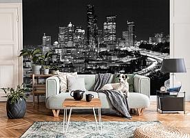 3D Фотообои «Ночной город черно-белые» вид 3