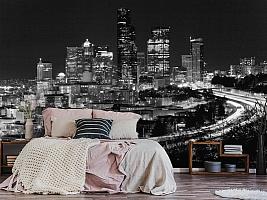 3D Фотообои «Ночной город черно-белые»