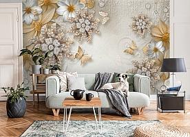 3D Фотообои «Объемные цветы со стразами и бабочками» вид 8