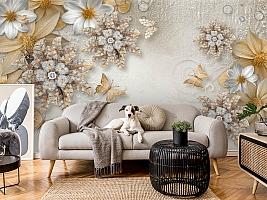 3D Фотообои «Объемные цветы со стразами и бабочками» вид 5