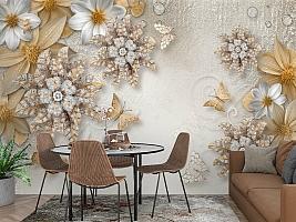3D Фотообои «Объемные цветы со стразами и бабочками» вид 3