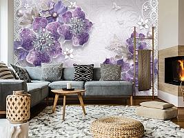3D Фотообои «Ювелирные фиолетовые цветы» вид 7