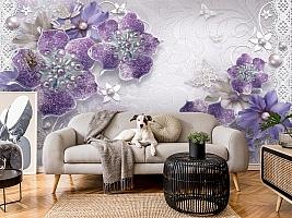 3D Фотообои «Ювелирные фиолетовые цветы» вид 5